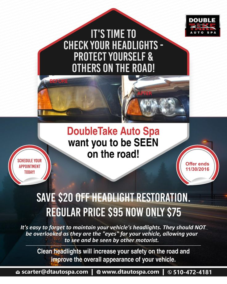 Headlight restoration not only enhances the overall appearance of your vehicle, but it also increases your level of safety. Get $20 off on headlight restoration at our center Double Take Auto Spa. For any queries, give us a call @ 510-472-4181   #Dtautospa #Car #Detailing #Service #Fremont #California #Ceramic #Paint #Coating #luxurycars  #Vehicle #Protection #Headlight #restoration #gloss #shine