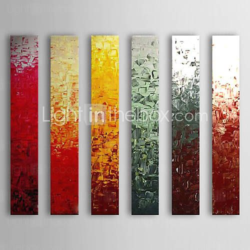 Hand Painted Oil Painting Abstract With Stretched Frame Set of 6 1308-AB0566 - USD $ 149.99