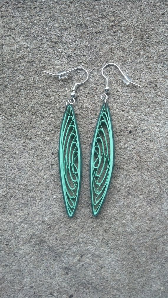 Hey, I found this really awesome Etsy listing at https://www.etsy.com/listing/194070977/long-green-paper-quilled-earrings-paper