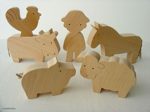 Farm Animal Set - Waldorf wooden toys - Farm animals and boy via Etsy