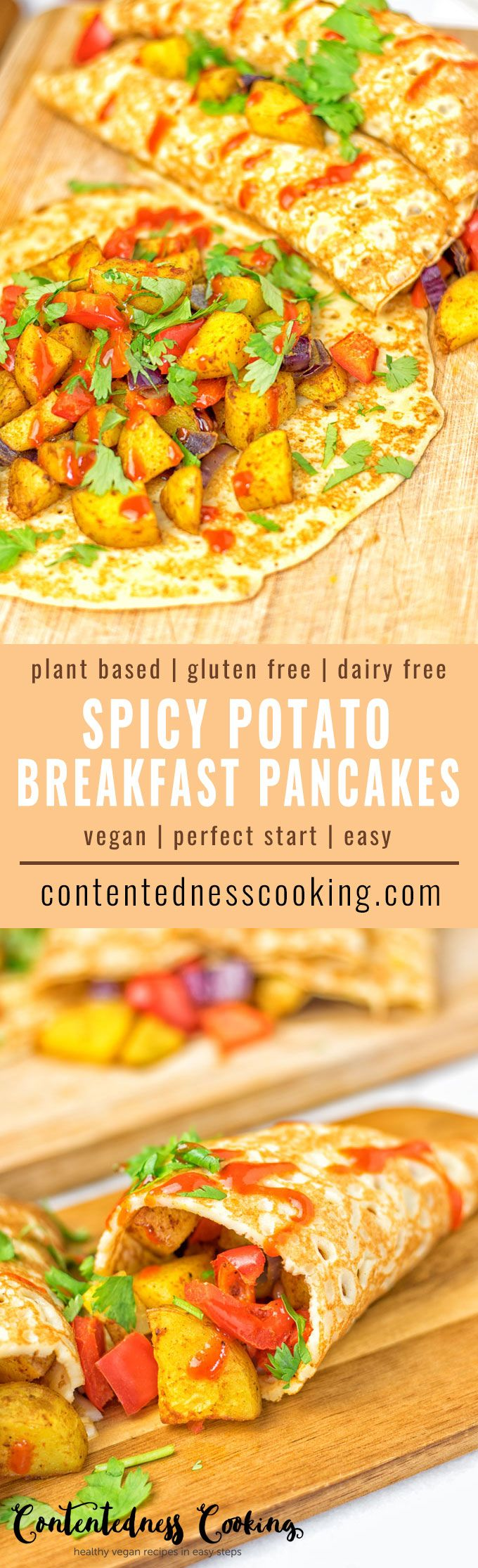 These Spicy Potato Breakfast Pancakes are entirely vegan and gluten free. So full of incredible flavors. An awesome dairy free alternative to regular pancakes. Not only for breakfast, even for lunch or dinner a must make! #vegan #glutenfree #plantbased #dairyfree