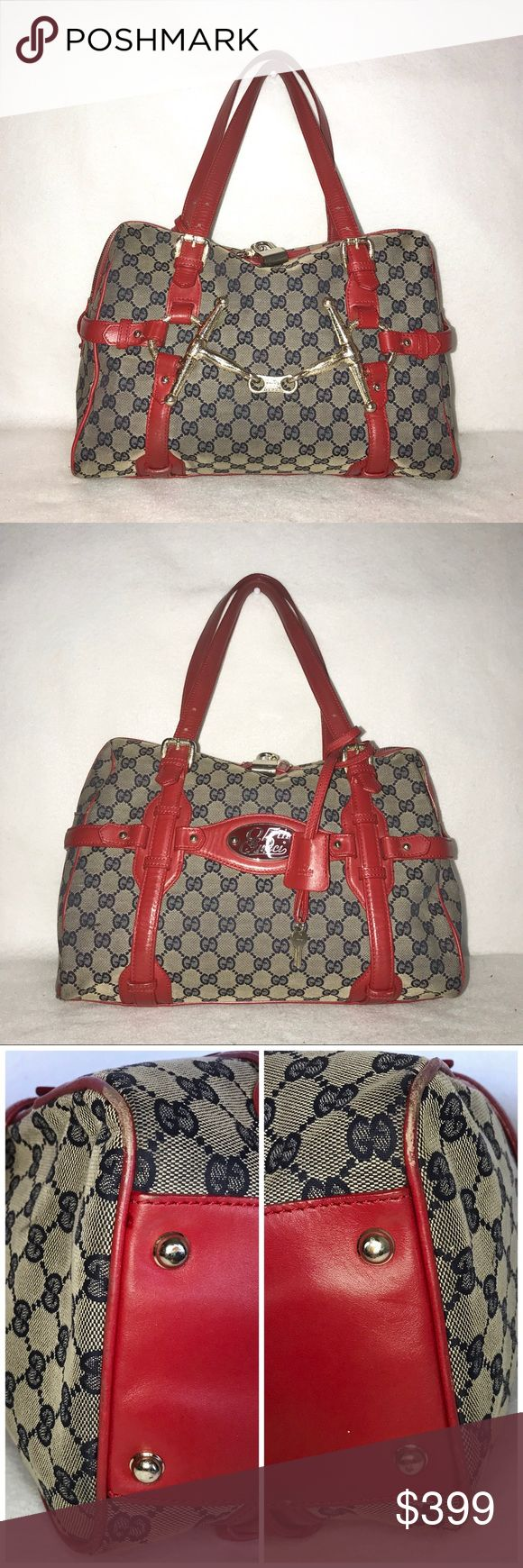 """🎈RARE🎈Ltd Edition GUCCI Anniversary Boston Bag 👉 Priced to sell - Higher trade value: $499  ♥️ RARE Ltd Edition w/ Red Leather Trim ♥️  1 interior pocket. Top zip closure w/ lock & keys (fully functional).  Interior is clean. Leather trim is freshly polished. Exterior - general wear. Some scuffing on the corners. Minimal scratches on hardware.  H: 11"""" L: 14"""" D: 6.5"""" Handle Drop: 8""""  All of my bags are carefully wrapped & shipped in boxes to ensure safe delivery. Bags Hobos"""