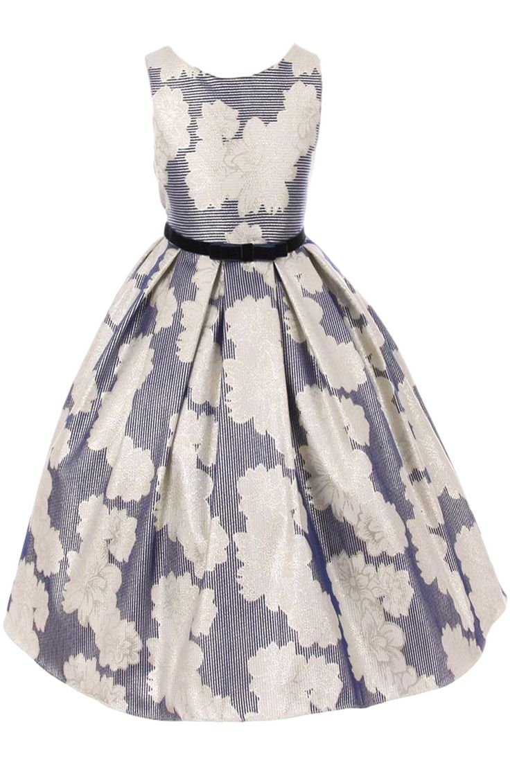 Navy Striped Jacquard with White Metallic Flowers Girls Occasion Dress (Sizes 2T - 12)