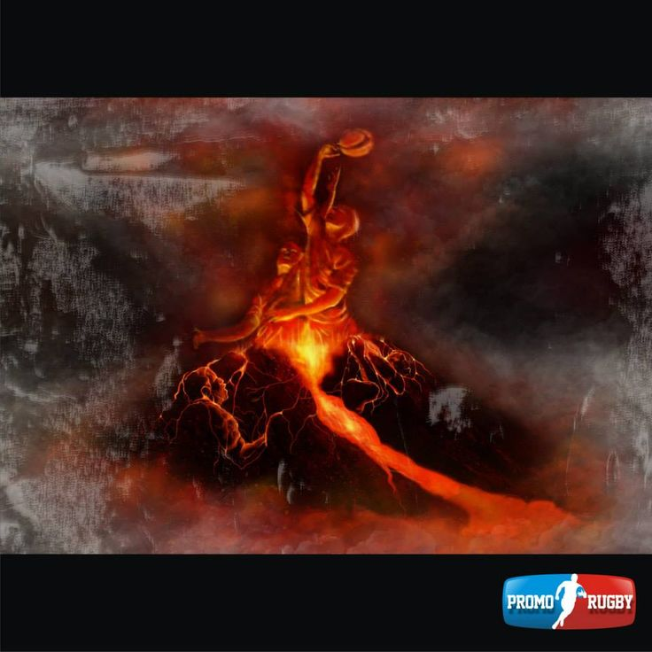 Volcano rugby - digital painting for PROMORUGBY