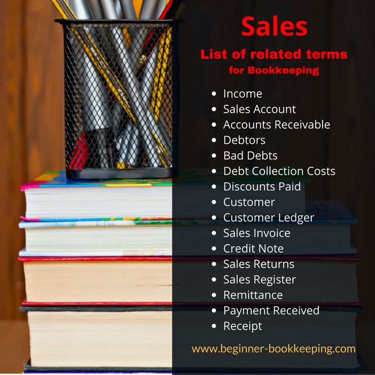 List of all words related to sales in bookkeeping; for example, debtors, debt collection, income, accounts receivable...