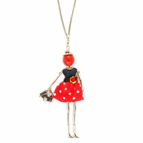 Collana lunga pendente bambolina abito alta moda nero rosso pois