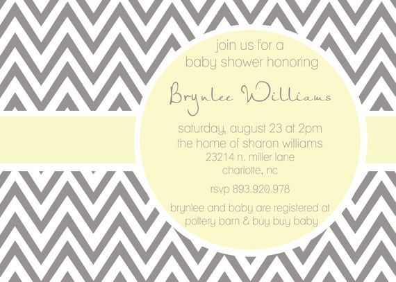 Brynlee- Custom Modern ZigZag Baby Shower Invitation - PRINTABLE INVITATION DESIGN on Etsy, $15.00