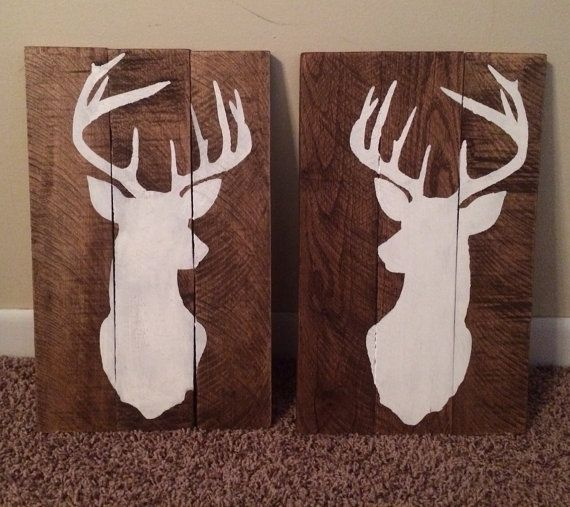 Set of 2 rustic hand painted pallet signs deer silhouette on Etsy, $50.00