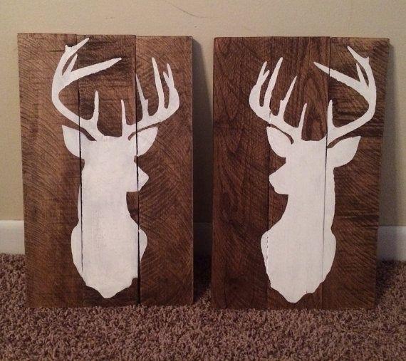 Set of 2 rustic hand painted pallet signs deer silhouette on Etsy, $50.00