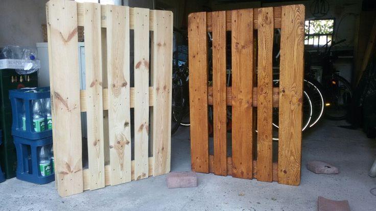 Vor und nach der Holzlasur, Farbton: Teak
