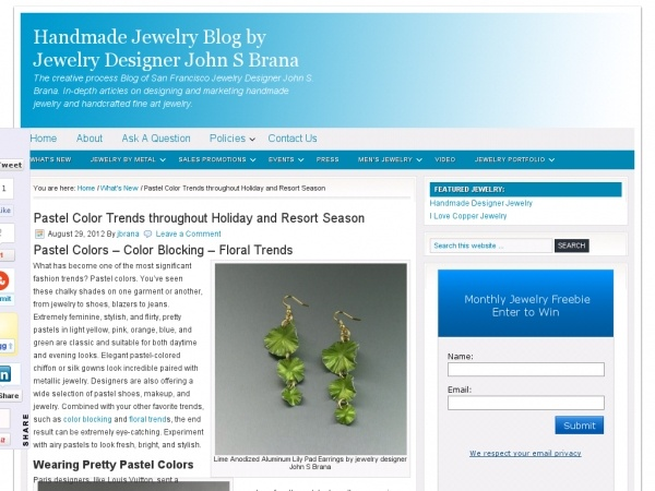 Pastel Color Trends throughout Holiday and Resort Season- Handmade Jewelry Blog by Jewelry Designer John S Brana - http://www.johnsbrana.com/blog/new-jewelry/pastel-color-trends-throughout-holiday-and-resort-season/: Holiday, Resort Season, Pastel Colors, Color Trends