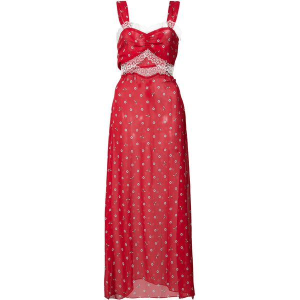 Morgan Lane daisy bee embroidered Joana slip dress (2,260 SAR) ❤ liked on Polyvore featuring dresses, red, long flared skirt, red sleeveless dress, red skater skirt, red silk dress and long skater skirt