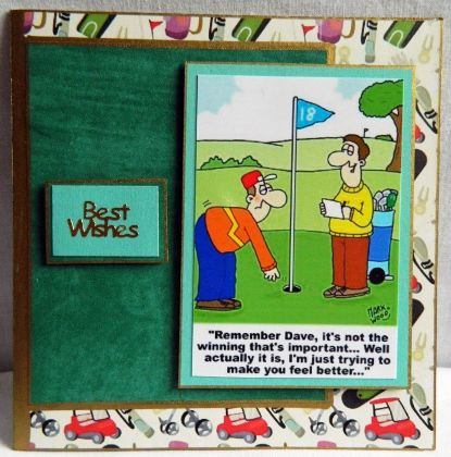 """This layered 3D card is for all you golf fans.  6"""" x 4.25""""  15 cm x 11cm"""