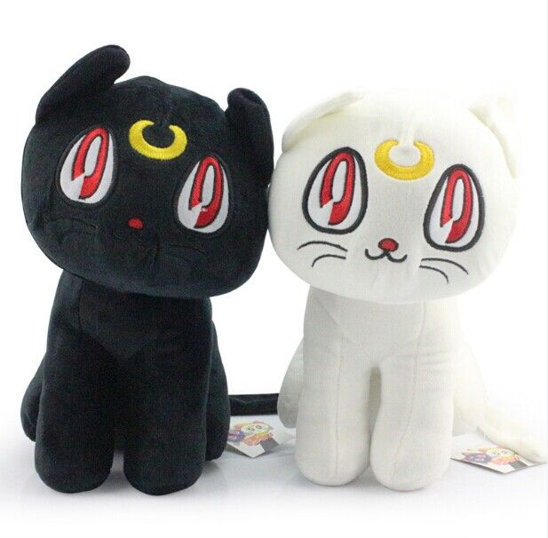 Ems 30 шт. сейлор мун 12  30 см черный луна кошка и белый артемида кошка плюшевые игрушка-кукла с тегом бесплатная доставка