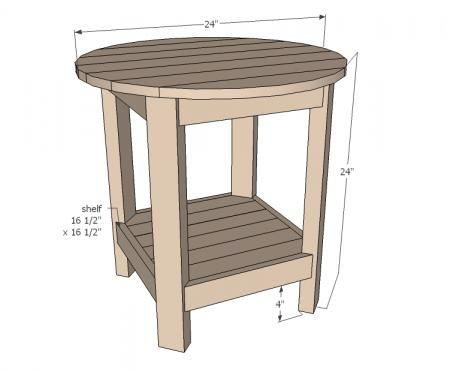DIY Benchright Round End Tables - another great option for an accent table between the chairs. Be a nice shape for the patio ana-white.com