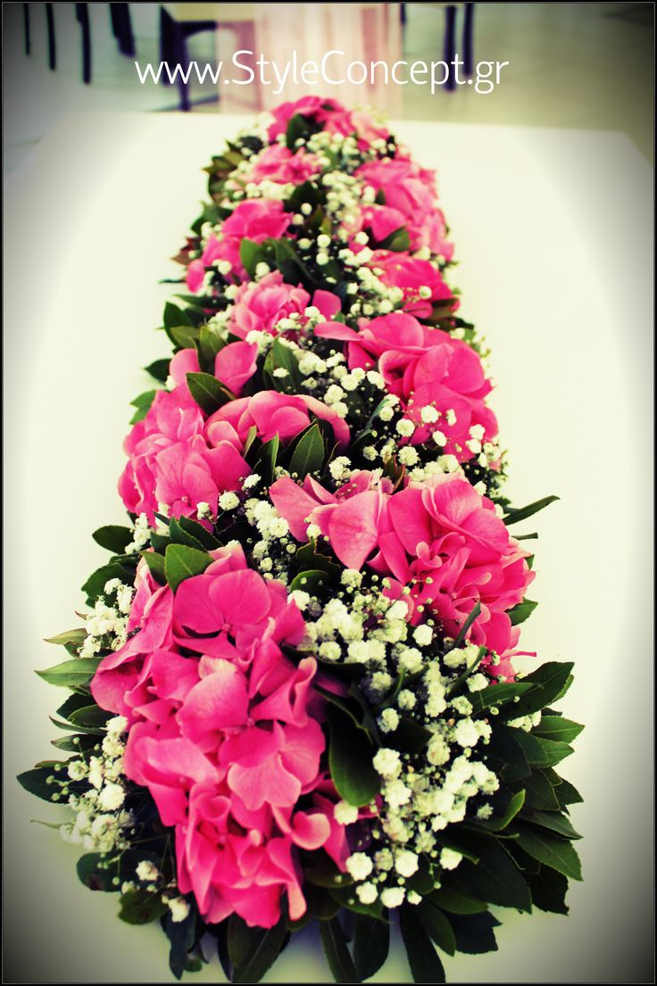 #Flower #garland in fuschia & white. The color combination & the hydrangeas make a super look!