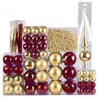 130 Christbaumkugeln Gold - Rot / Bordeaux - Weihnachtskugel ideal für den Tannenbaum aber auch zum Basteln bestens geeignet.