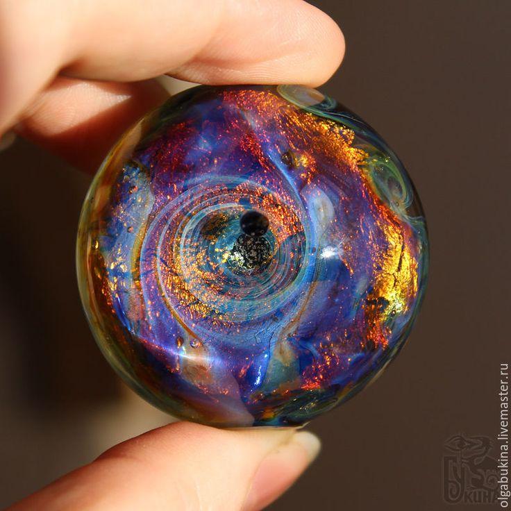 """Купить Стеклянный шар """"Спутники"""" Сфера Космос Синий Медитация Подарок мужчине - космос, астрономия #космос #шар #стеклянный #lampwork #marble"""