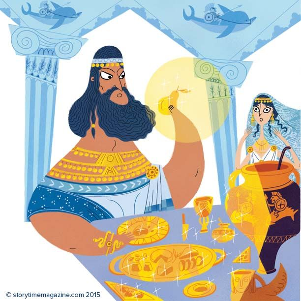 The Midas touch turn everything into gold! IN Storytime - awesome illus by Raphaelle Barbanegre #Storytime #storyforkids #kidsmagazine #childrensillustrations