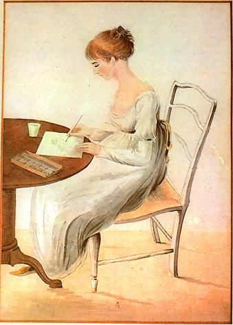 Jane Austen's niece, Fanny Knight, paints watercolors on a regular table. [Bangs very like modern ones. Back hair up; hard to see details, but looks similar to a modern French twist.]