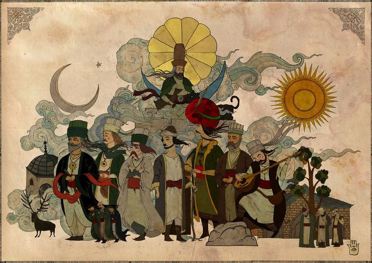 """""""soldan sağa sırasıyla: pir sultan abdal, teslim abdal, virani, nesimi, hatayi(şah ismail), sıtkı baba, kul himmet ve en üstte erenler şahı, hünkar hacı bektaş veli."""" by mahlukat"""