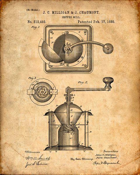 49 best кава images on Pinterest Deko, Antiquities and Blue prints - copy coffee grinder blueprint