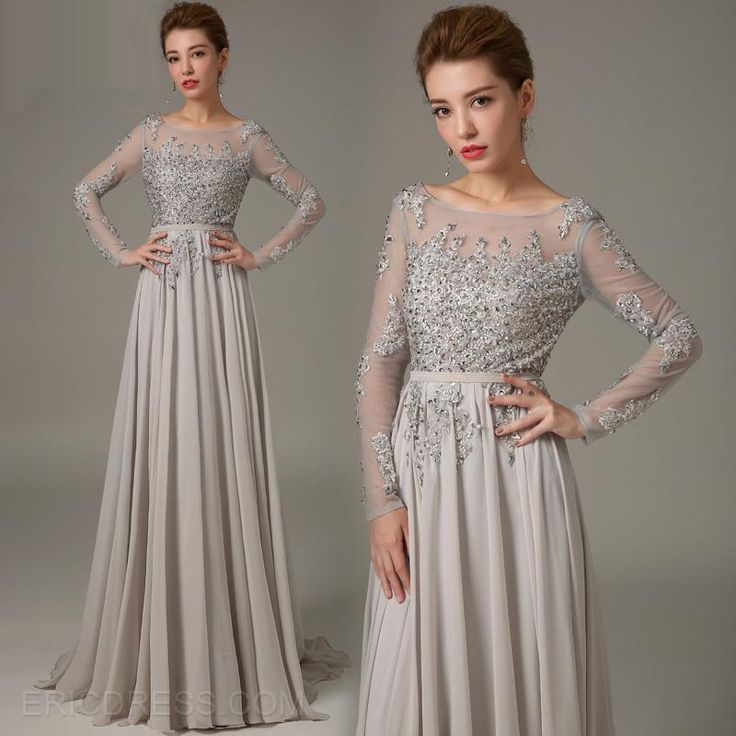 Mysterious Long Sleeves Backless Beading A-Line Evening Dress Vintage Evening Dresses- ericdress.com 11151349