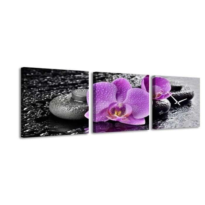 Zegar ścienny - obraz 4MyArt Violet Flower 105 x 35cm ◾ ◾ PrezentBox