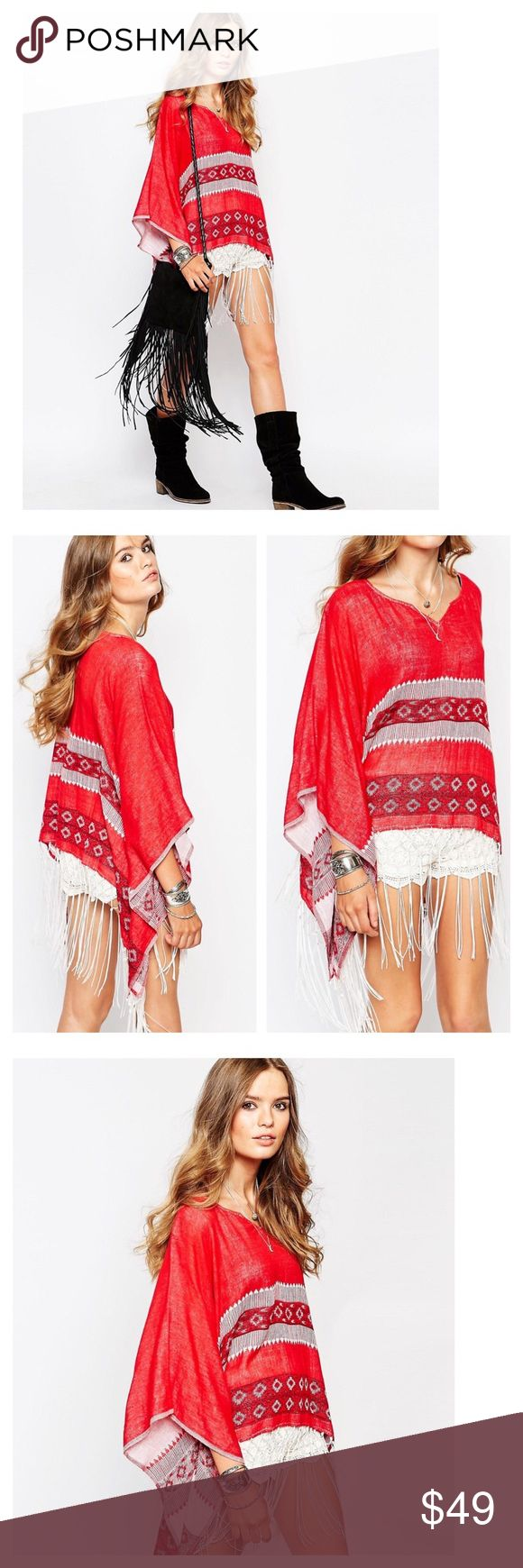 "Hippie festival poncho From the brand Spiritual Hippie sold by ASOS. Poncho features southwestern print with fringe trim. Fits sizes 6 to 10. Length without fringe 22"". 100% cotton. New in bag. no trades ASOS Sweaters Shrugs & Ponchos"