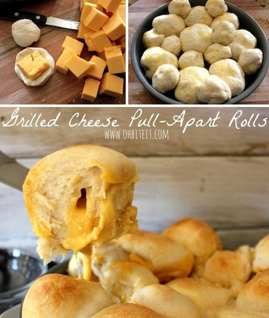 Grilled Cheese Pull-Apart Rolls 1 Container of Pillsbury Grands Flaky Layers Biscuits (8 ct.) 1-7.5 oz. Container of Pillsbury Buttermilk Biscuits (10 ct.)  It will take 2 cans of either size to fill the cake pan. 1/2 cup melted Butter..you could leave this out, but the Butter is what makes them taste just like Grilled Cheese! :) Velveeta Cheese…approx 3/4 of an entire box.  (you will need a 1-2″ cube to stuff into each Roll) A 9″ round cake pan