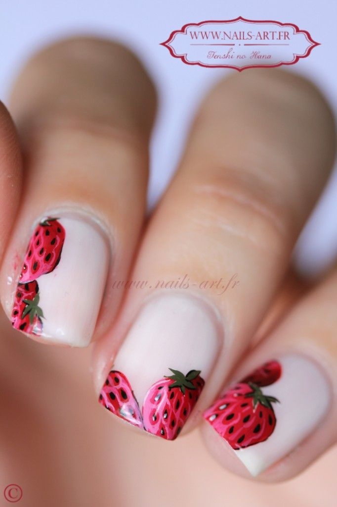 Strawberry nail art.