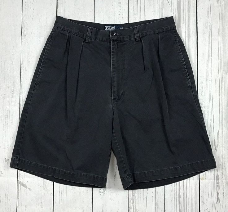 Polo by Ralph Lauren mens 33 blue gray pleated front classic chino khaki shorts #PoloRalphLauren #KhakisChinos