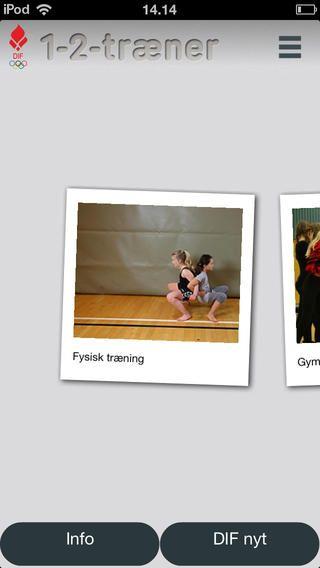 1-2- Træner er små videoer af forskellige idrætsøvelser. her får man gode ideer til øvelser. Appen er gratis.