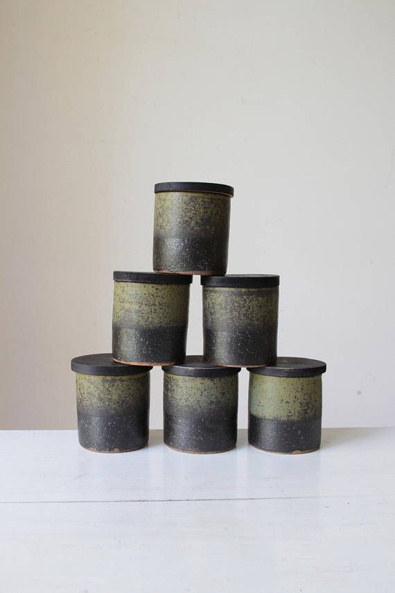 SOLD Vintage pottery spice jars/ 1970s English pottery/ R Welch