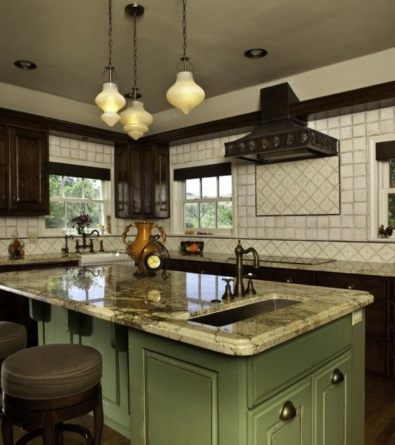 Kitchen Darkword Cabinets Green Island Granite Kitchen Countertop Cork Flooring Tiles Things To Make Your Boring Kitchen Into Stunning Kitchen