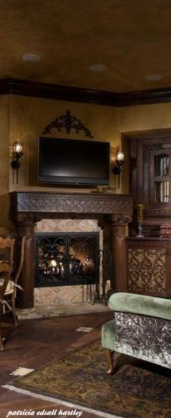 Perfect fireplace with sconces, etc.