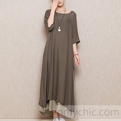 Gray plus size layered linen sundress cotton summer maxi dresses long casual traveling clothing