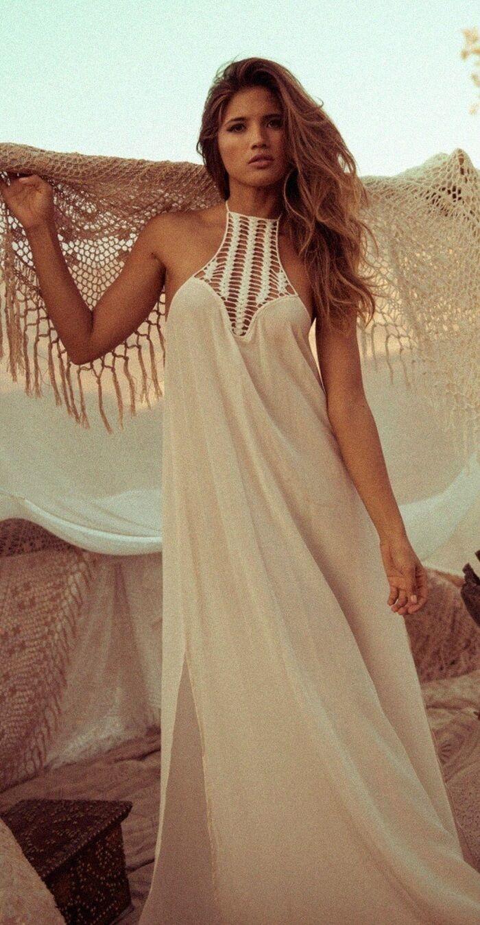 4cd4a0feef Bohemian White Halter Maxi Dress. Women fashion. Bohemian summer ...