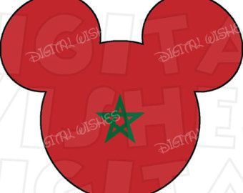 Morocco flag Mickey Mouse head ears Digital Iron on transfer clip art INSTANT DOWNLOAD image DIY for Shirt