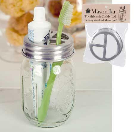 Mason jar toothbrush holder lid ctw home collection for Mason jar holder ideas