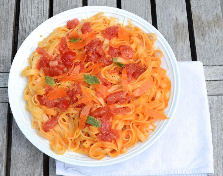 Fettuce au coulis de poivrons et tomates