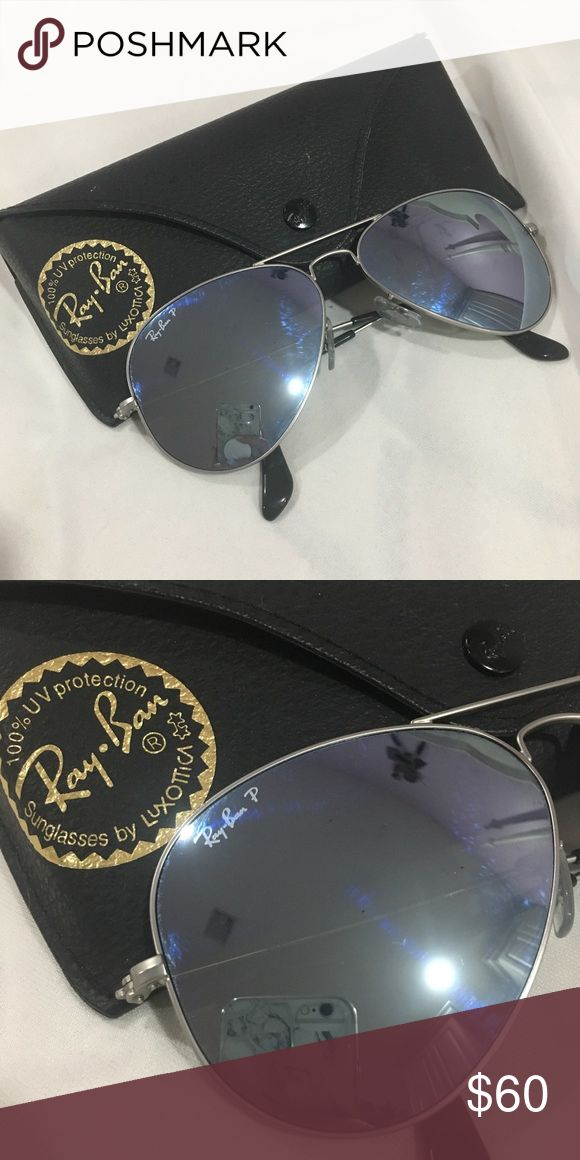 Ray Ban Mirrored Aviator Sunglasses Used couple times, ray ban aviator sunglasses. They are also mirrored lens. Ray-Ban Accessories Glasses