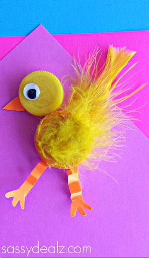 Plastic Bottle Cap Chick Craft for Kids #Easter craft for kids #Upcycle | http://www.sassydealz.com/2014/03/plastic-bottle-cap-chick-craft-kids.html