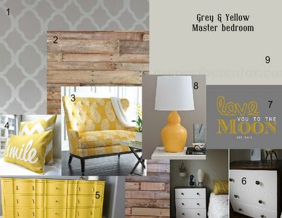 Grey and yellow master bedroom mood board #paintwinerepeat #homedecor love it but would change to teal