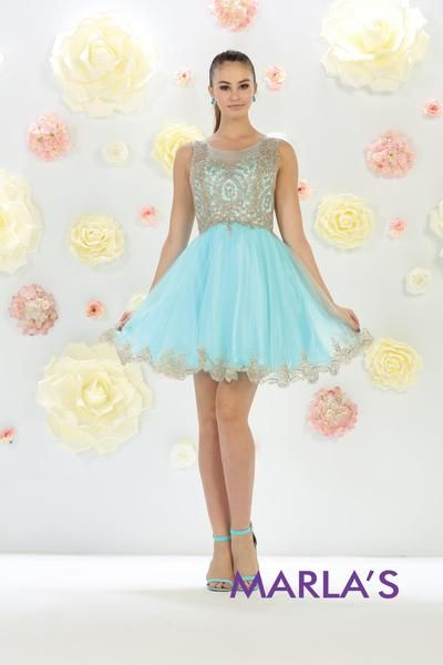 Short High Neck Illusion Aqua Blue Dress with Embroidery