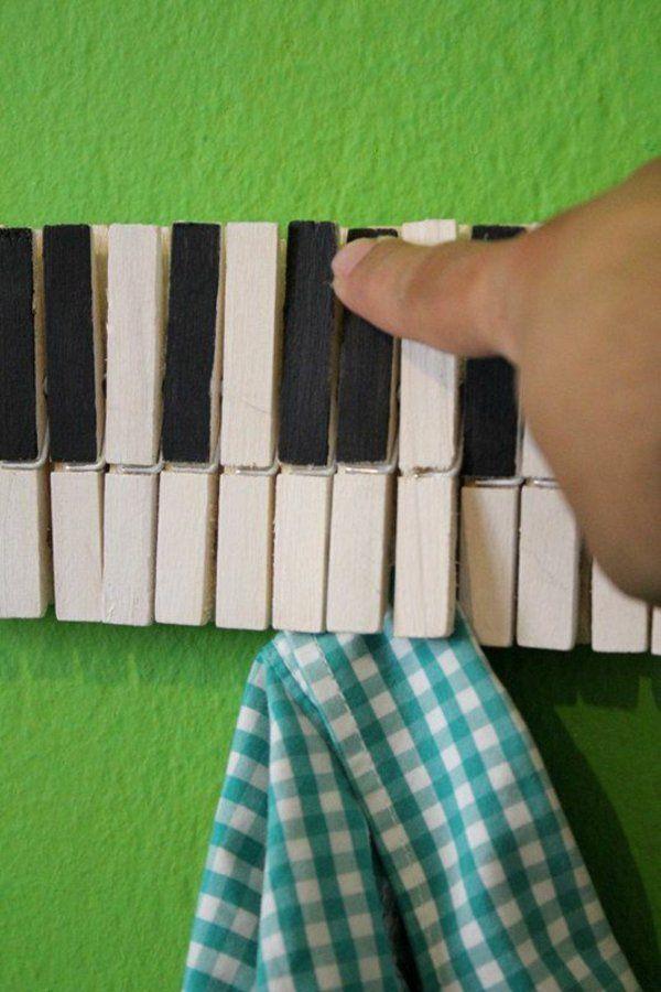 Basteln aufhänger Wäscheklammern klavier