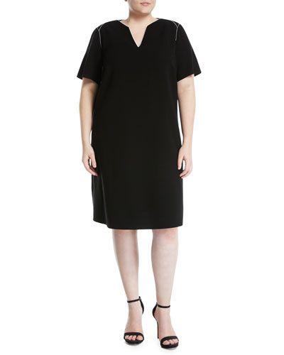 Ezra Contrast-Piped Short-Sleeve Dress, Black, Plus Size