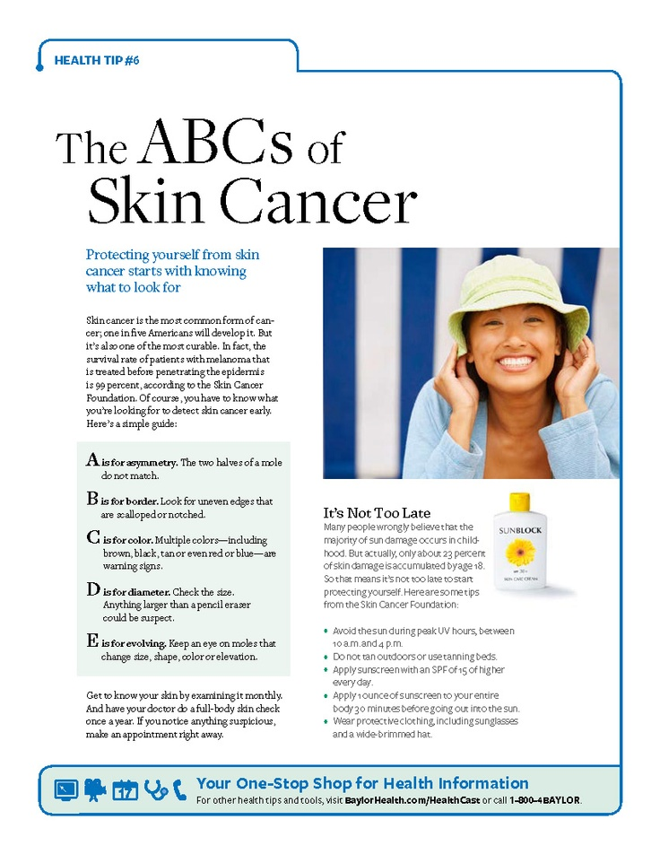 [Printable] The ABCs of Skin Cancer: Download this guide to know what to look for: http://bit.ly/SkinCancerTips  #Baylorhealth