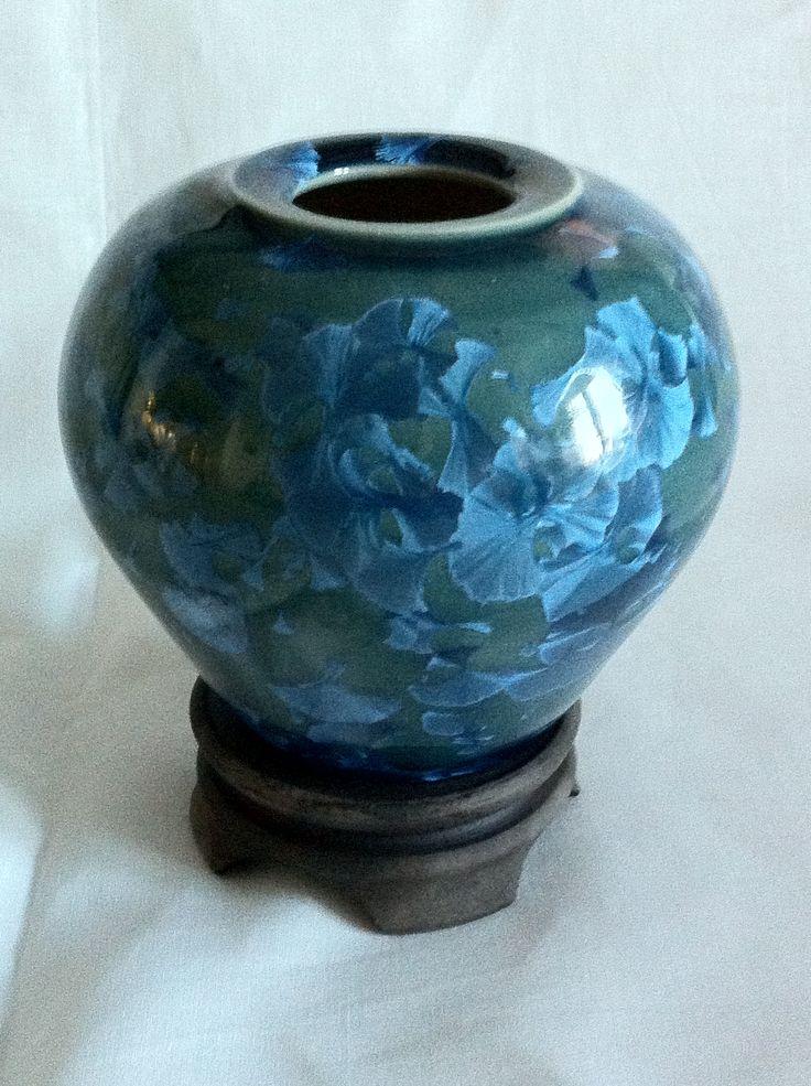 Fat Crystalline Vase on raku pedestal.