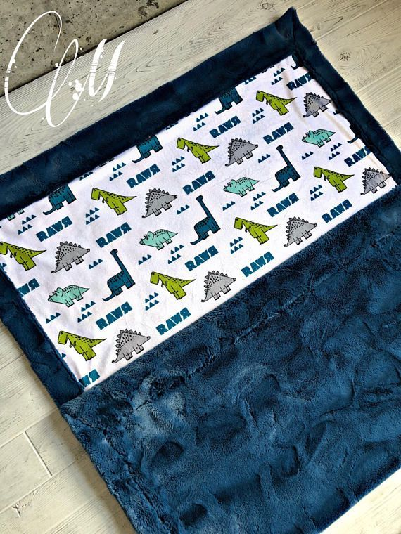 ***Options*** Please read carefully!! Dino with teal hide backing. Minky blankets are minky on both sides. Check shop info for turnaround time. Minky Baby blanket - Measures approximately 28x38 inches. Great for strollers, car seats, swaddling etc Minky Toddler/Crib - Measures